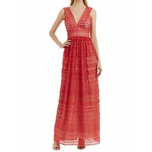 Nicole Miller V neck coral lace maxi dress